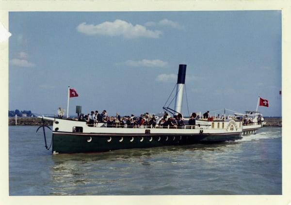 URh.DS Schaffhausen beim Manöver im Hafen von Konstanz um 1960.Sammlung Suhner.Dampferzeitung