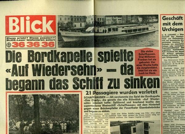 URh.MS Schaffhausen.1970.22. Mai.Die Bordkapelle spielte auf Wiedersehen.Blick