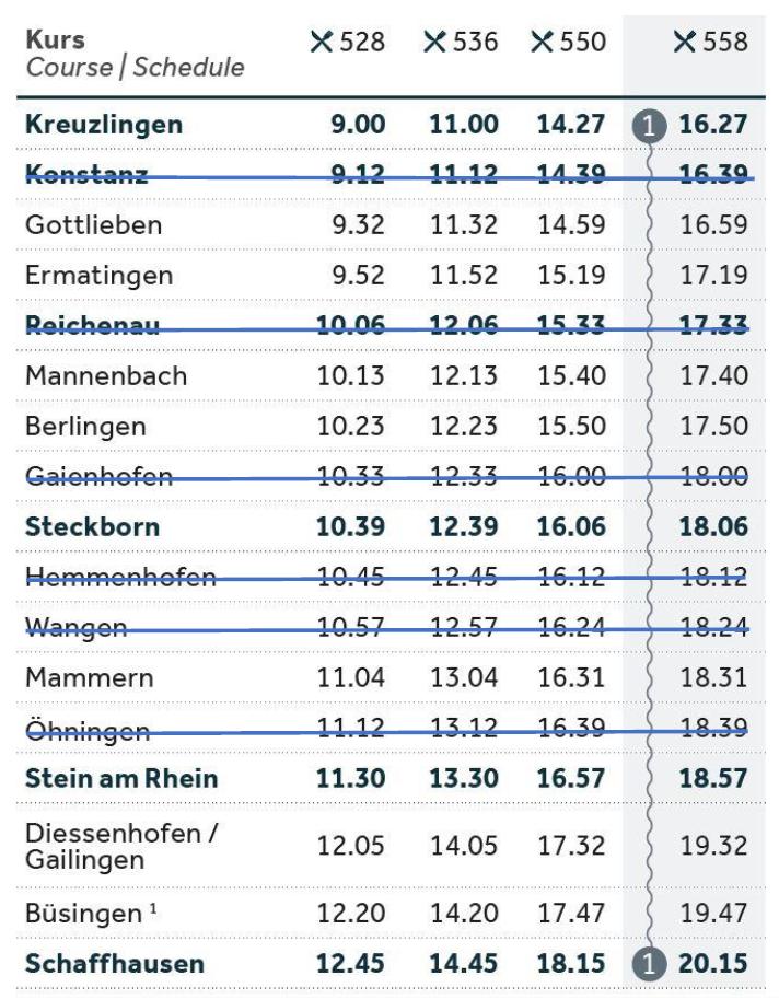 Fahrplan richtung Schaffhausen frühling