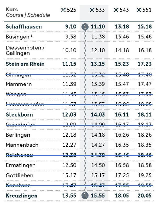 Fahrplan_richtung Kreuzlingen Frühling